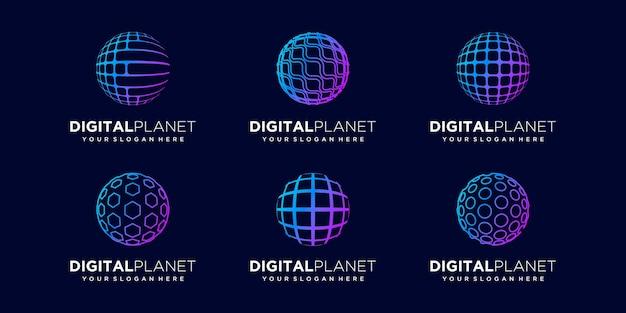 Zestaw danych streszczenie kuli cyfrowe logo design wektor szablon.