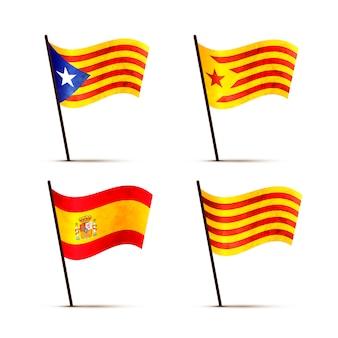 Zestaw darmowych kataloński, senyera, estelada blava i hiszpania flagi na słupie z cieniem na białym tle