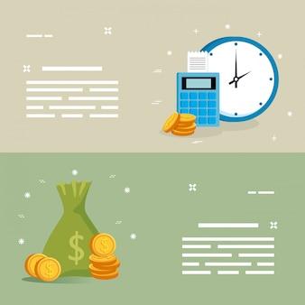 Zestaw dataphone z worka pieniędzy i ikon