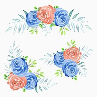 Zestaw dekoracji akwarela bukiet róży kwiat