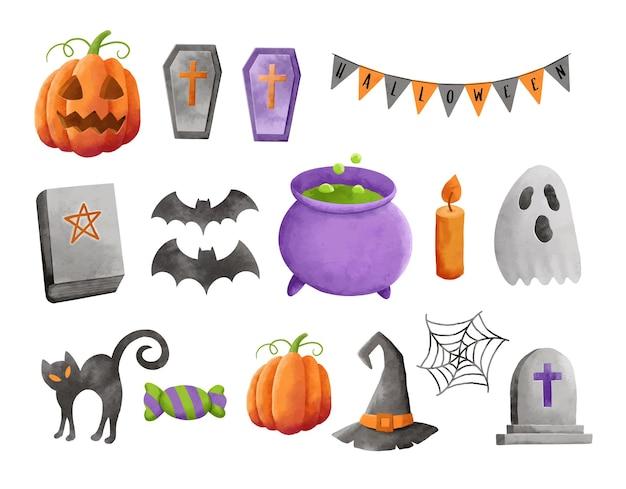 Zestaw dekoracji elementu halloween w stylu przypominającym akwarele.