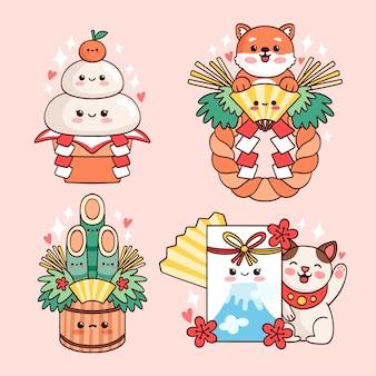 Zestaw dekoracji japońskiego nowego roku kawaii