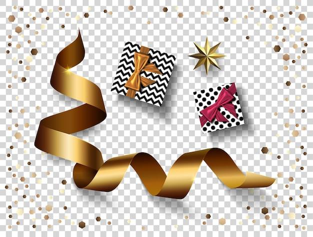 Zestaw dekoracji na przezroczystym tle na przyjęcie szczęśliwego nowego roku, realistyczna złota wstążka, konfetti, gwiazda, prezent na boże narodzenie.