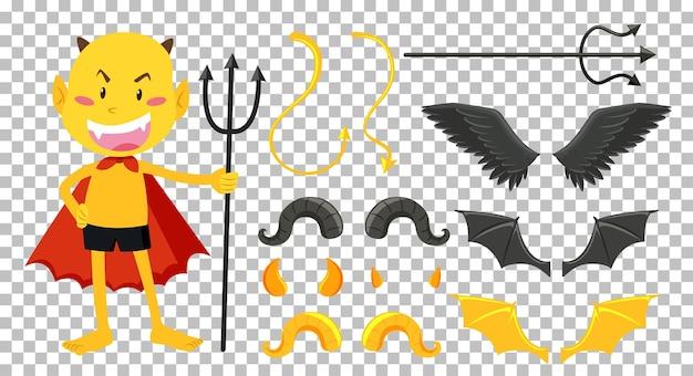 Zestaw dekoracji obiektu diabła i anioła