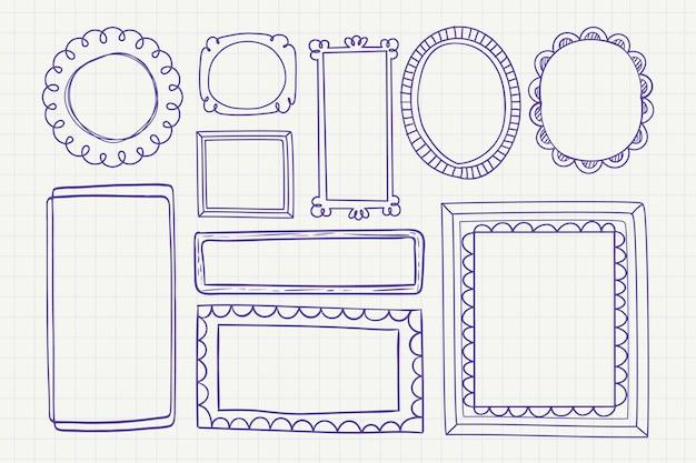 Zestaw dekoracji ramek doodle