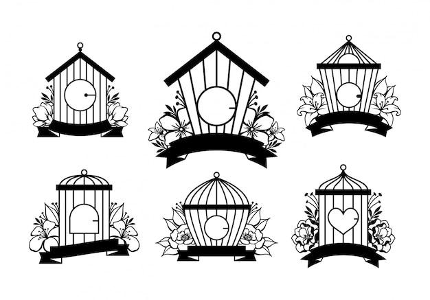 Zestaw dekoracji ślubnych ręcznie rysowane klatki dla ptaków