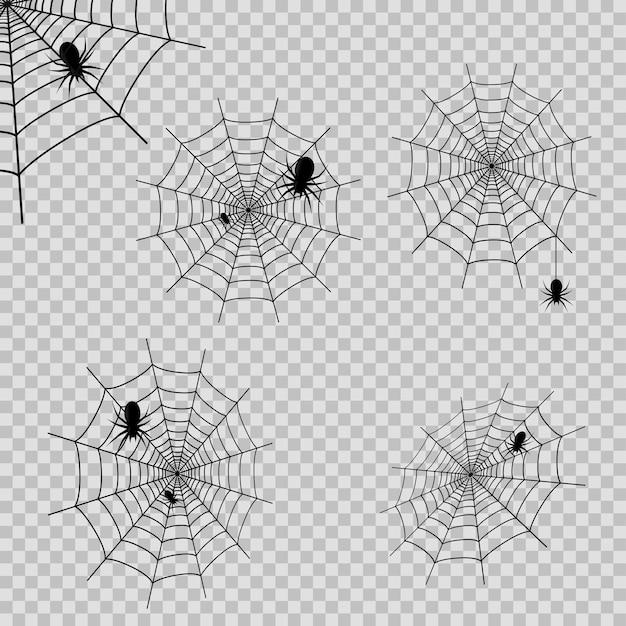 Zestaw dekoracji z pajęczyną i pająkami na przezroczystym tle. wektor