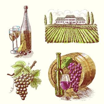 Zestaw dekoracyjny do szkicu wina