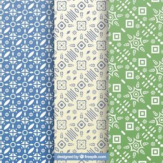 Zestaw dekoracyjnych wzorów z geometrycznych kształtów