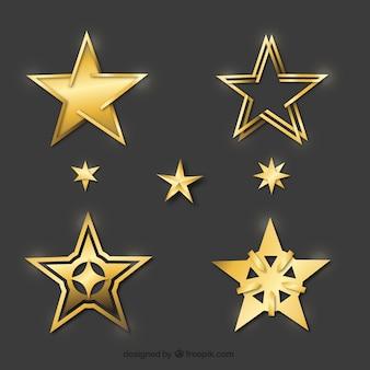 Zestaw dekoracyjnych złotych gwiazd
