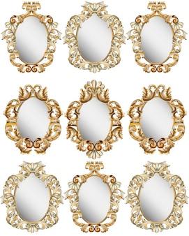 Zestaw dekorów gold classic. szczegółowa ilustracja wektorowa ornament
