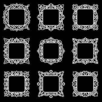 Zestaw delikatnych kwadratowych ramek z miejscem na twój tekst lub obraz