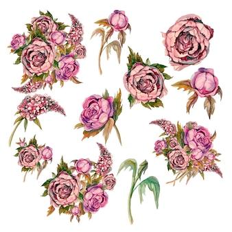 Zestaw delikatnych kwiatów akwareli. róże piwonie bzy.