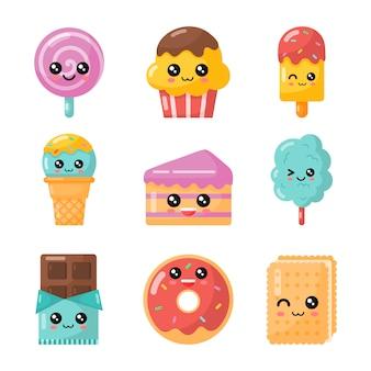 Zestaw deser kreskówka kawaii. słodki cukierek na białym tle
