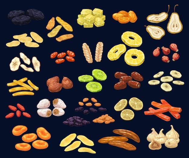 Zestaw deser suszonych owoców i jagód