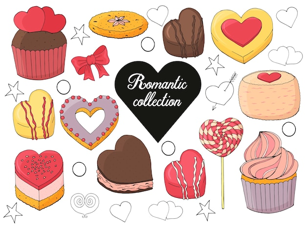 Zestaw deserów, ciast, cukierków na walentynki. ręcznie rysowane ilustracji.