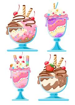 Zestaw deserów lodowych w miseczkach szklanych. słodki deser owocowy ze słomkami waflowymi, jagodami, czekoladą. ilustracja na białym tle