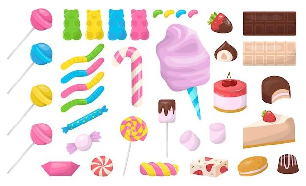 Zestaw deserów lub słodyczy. ciasto i pączek, muffinka i czekolada. niezdrowe jedzenie