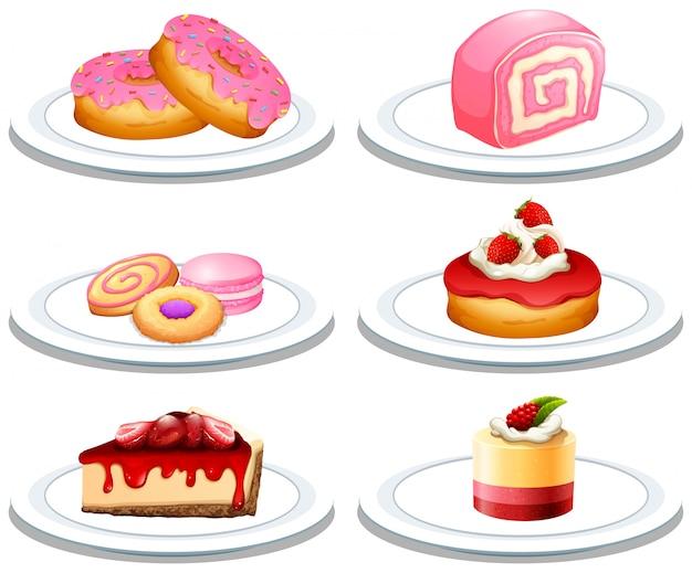 Zestaw deserów na talerzu