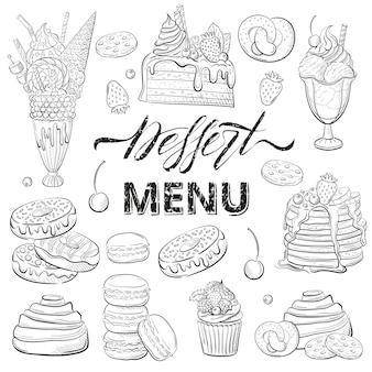 Zestaw deserów z ciastem pączki piekarnia clipart do menu restauracji lub kawiarni grafika liniowa styl szkicu