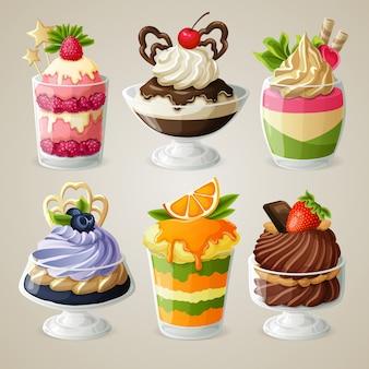 Zestaw deserów z musów lodowych słodyczy