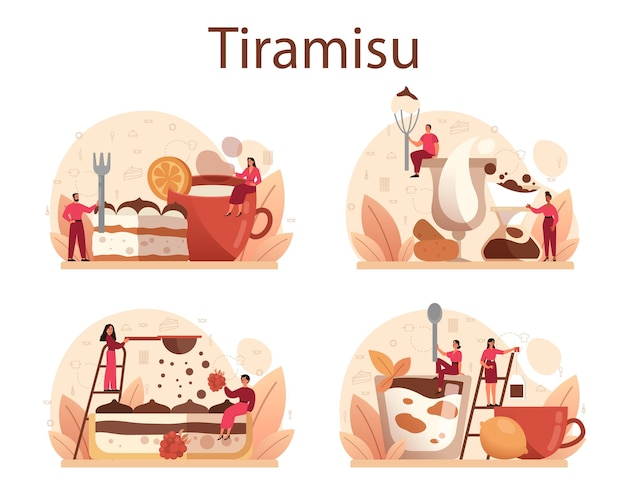 Zestaw deserowy tiramisu. ludzie gotują pyszne włoskie ciasto. słodki kawałek piekarni restauracji. odosobniony