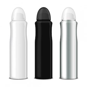 Zestaw dezodorantu w sprayu. wektor makiety szablon metalowej butelki z przezroczystą nakrętką
