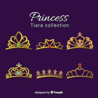 Zestaw diadem princess gold
