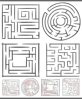 Zestaw diagramów labiryntów i labiryntów