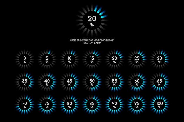 Zestaw diagramów procentowych koło niebieskie zielone światło na czarnym tle