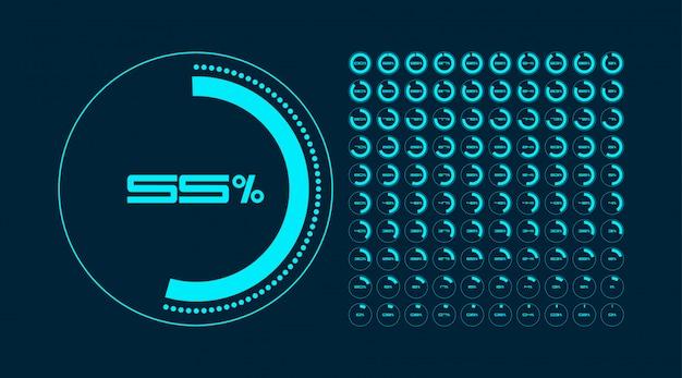 Zestaw diagramów procentowych okręgu. regulator czasowy. infografika