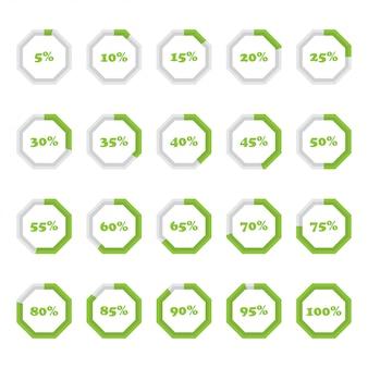 Zestaw diagramów procentowych ośmiokąta od 5 do 100 dla infografiki