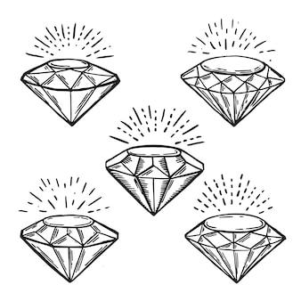 Zestaw diamentów ręcznie rysowana ilustracja stylu