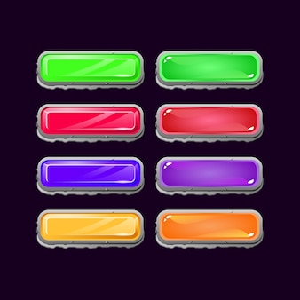 Zestaw diamentowych kamieni i galaretek do gry ui kolorowych przycisków dla elementów aktywów gui