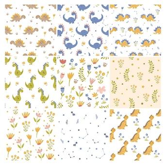 Zestaw dinozaurów i wzorów kwiatowych. ilustracja wektorowa.