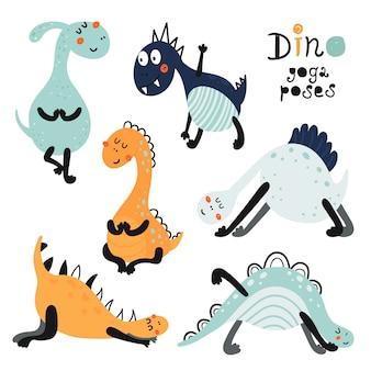 Zestaw dinozaurów w pozycjach jogi