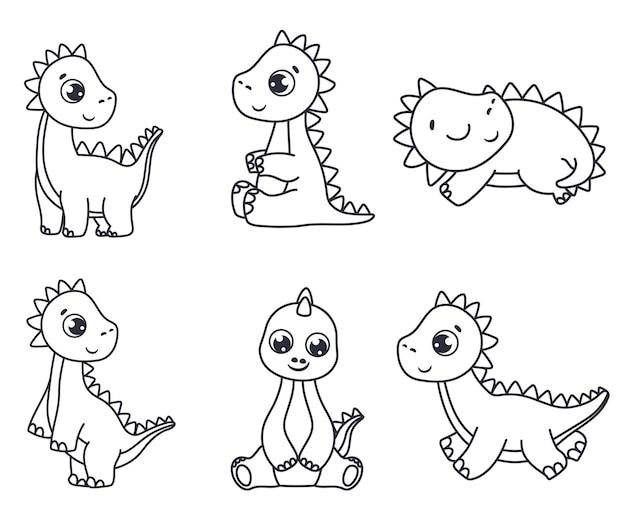Zestaw dinozaurów z kreskówek. czarno-biały ilustracja wektorowa dla kolorowanka. rysunek konturowy.