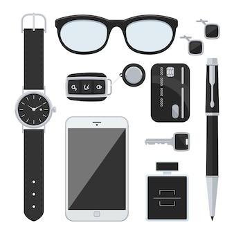 Zestaw dla dżentelmena: kluczyki do samochodu, okulary przeciwsłoneczne, zegarek, karta kredytowa, telefon komórkowy, długopis, perfumy oraz spinki do mankietów.
