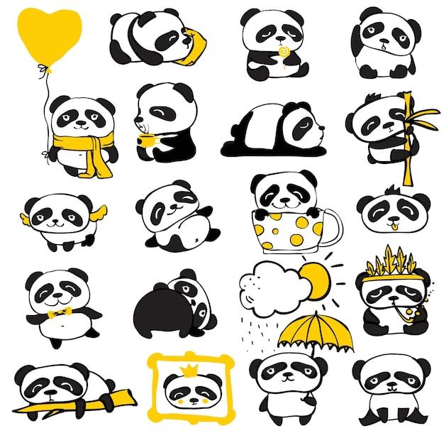 Zestaw dla dzieci doodle panda. prosty design uroczych pand i innych pojedynczych elementów idealnych na kartkę dziecięcą, banery, naklejki i inne dziecięce rzeczy.