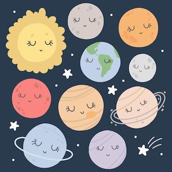 Zestaw dla dzieci kawaii z planetami układu słonecznego i gwiazdami na niebieskim tle