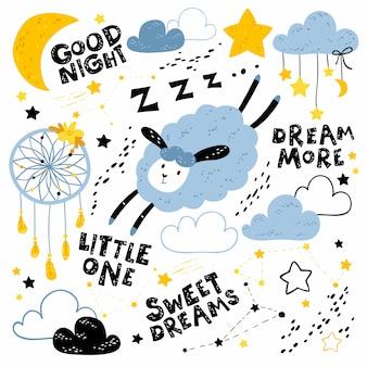 Zestaw dla dzieci ze słodkimi owcami, chmurami, gwiazdami, księżycem, gwiazdozbiorami i czarnymi napisami. dobranoc, słodkich snów, więcej snów, maleńka