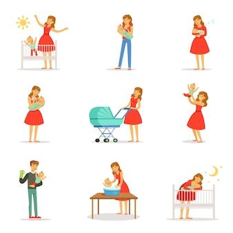 Zestaw dla. kolorowej kreskówki szczegółowe ilustracje na białym tle