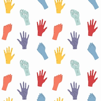 Zestaw dłoni. ręcznie rysowane kolorowe modne ilustracji wektorowych. styl kreskówki. płaska konstrukcja. wektor wzór. wszystkie elementy są izolowane