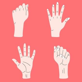 Zestaw dłoni. ręcznie rysowane kolorowe modne ilustracji wektorowych. styl kreskówki. płaska konstrukcja. wszystkie elementy są izolowane