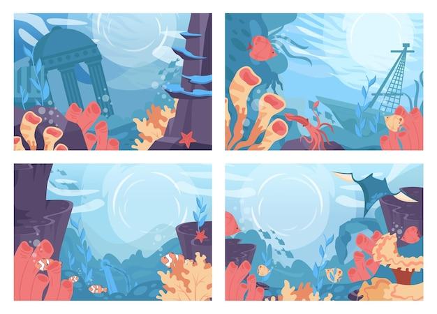 Zestaw dna morskiego. piękny podwodny świat z różnymi koralami i wodorostami.