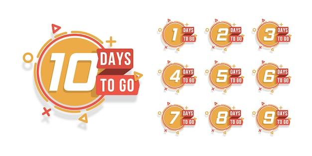 Zestaw dni do odliczenia. odliczanie 1 do 10 dni pozostałych etykiet lub emblematów można wykorzystać do promocji, sprzedaży, strony docelowej, szablonu, interfejsu użytkownika, strony internetowej, aplikacji mobilnej, plakatu, banera, ulotki. .