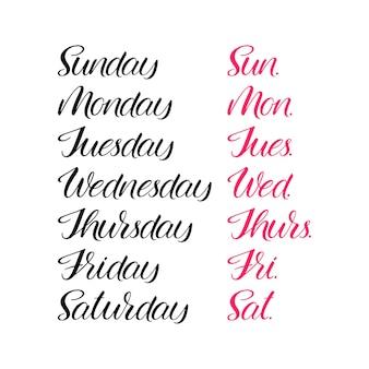 Zestaw dni tygodnia. kaligrafia ręczna