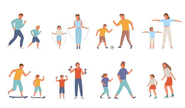 Zestaw do aktywnego sportu rodzinnego. matka córka nastolatka