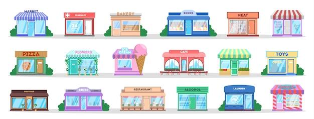 Zestaw do budowy sklepu. zbiór publicznych obiektów miejskich. piekarnia i cukiernia, kawiarnia i restauracja. sklep zewnętrzny. ilustracja na białym tle płaski wektor