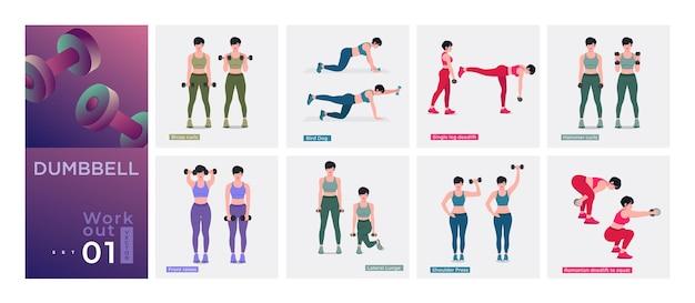 Zestaw do ćwiczeń dla kobiet kobiety trening fitness aerobik i ćwiczenia